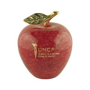 Genuine Marble Apple Paperweight with Gold Leaf