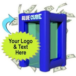 Blizzard of Dollars Blue Cube Inflatable Money Machine