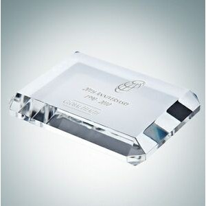 "Beveled Rectangle Optical Crystal Paper Weight (1 7/8"")"